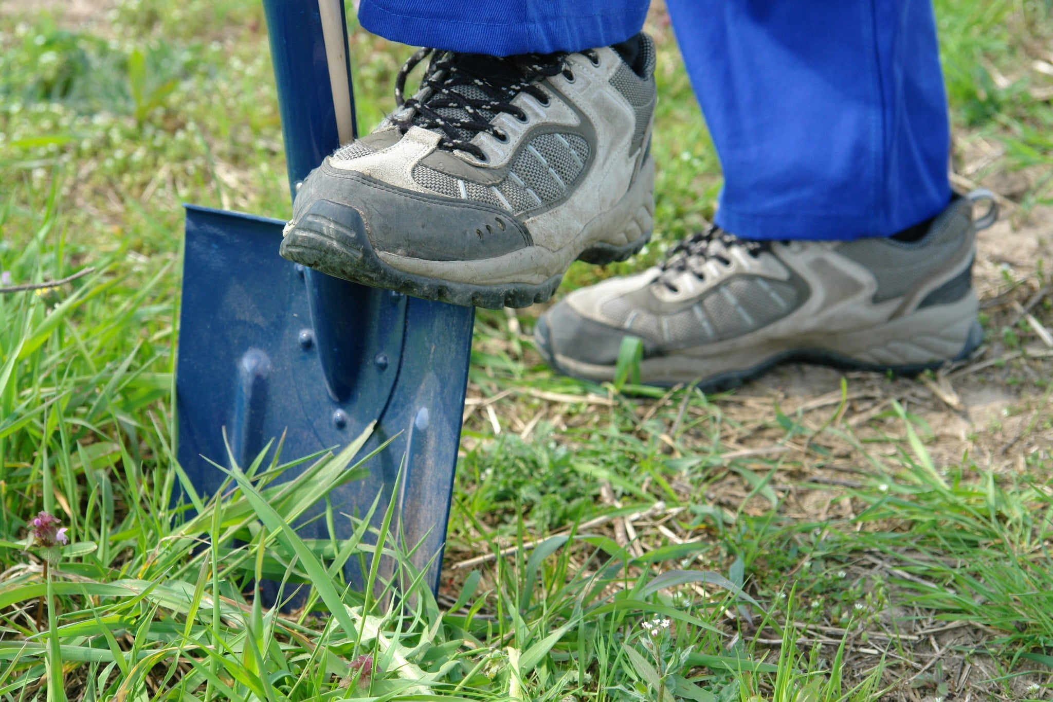 construction worker digs spade into ground