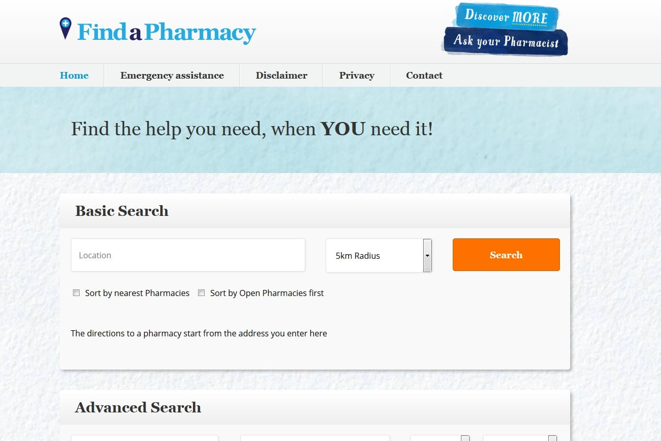 Find a Pharmacy website snapshot