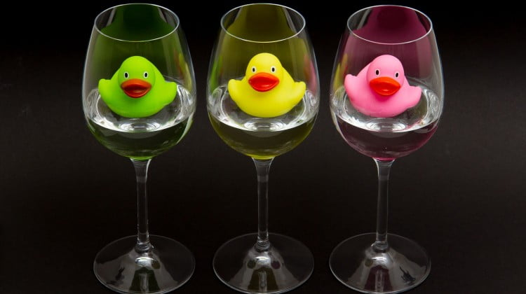 ducks in wineglasses - alcohol free