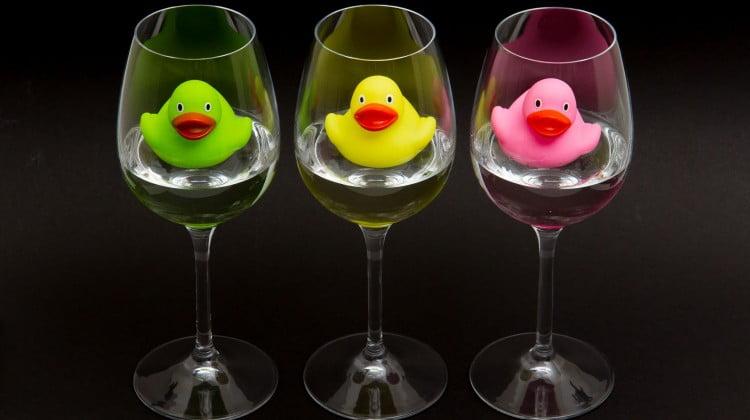 ducks in wineglasses - alcohol free