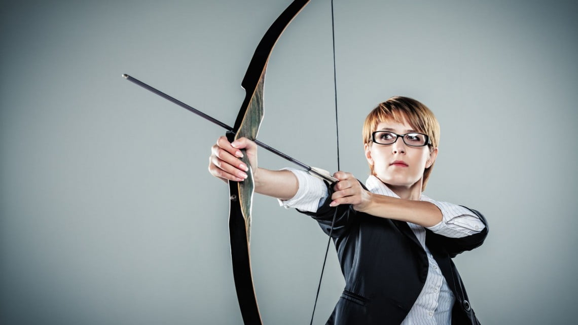 pharmacy hunger games: business woman with bow and arrow