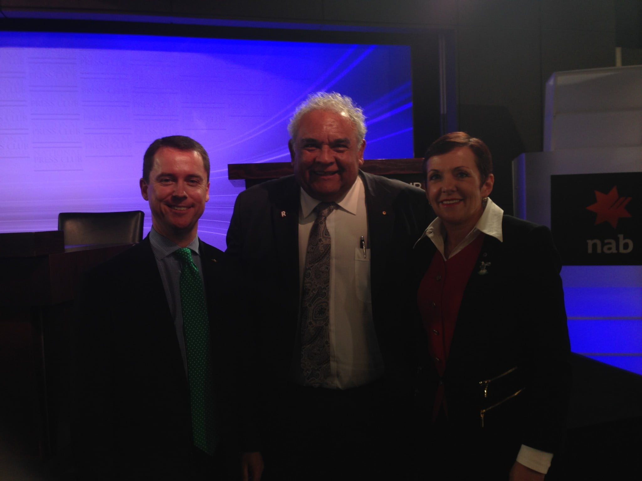 Kate Carnell with Martin Laverty and Dr Tom Calma at a 2014 event