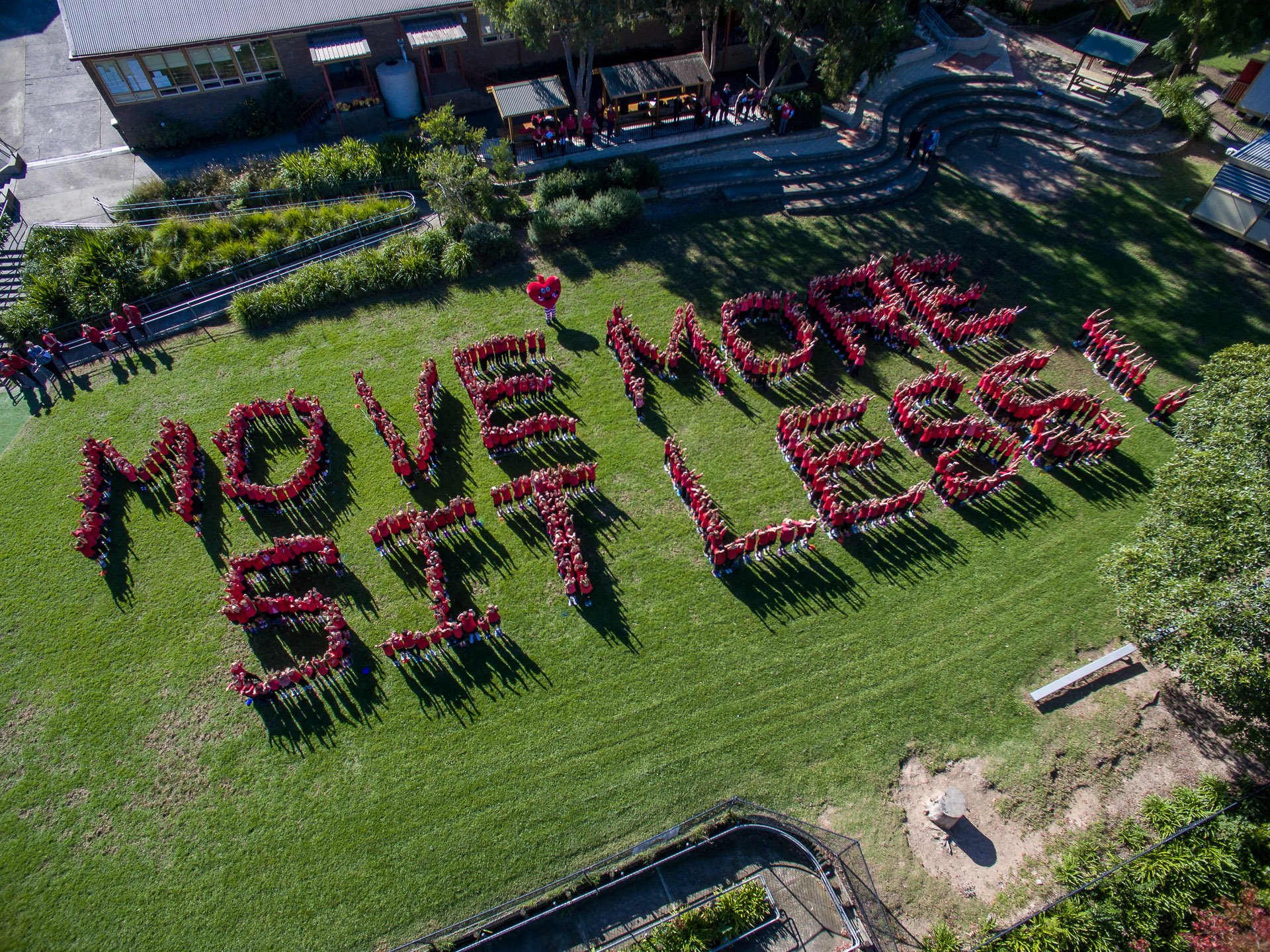 """Pymble School kids spell out """"Move more sit less"""""""