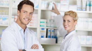 two happy pharmacists