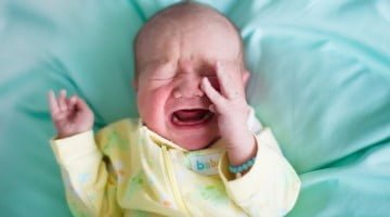 young baby crying