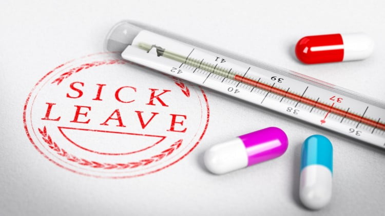 """""""Sick leave"""" stamp and pills"""