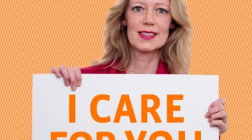 FIP promotion image woman with placard