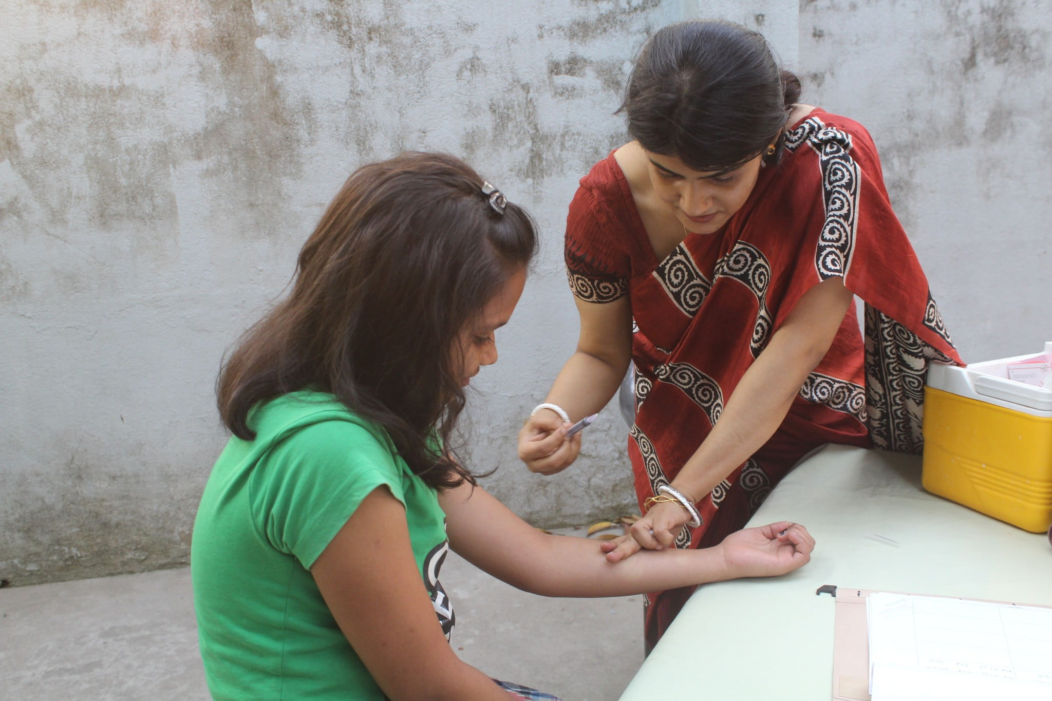 child getting vaccinated in India
