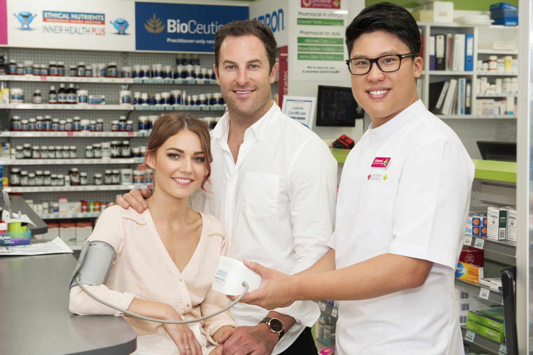 Sam Frost and Sasha Mielczarek in-store with Priceline Pharmacist, Ed Tanzil.