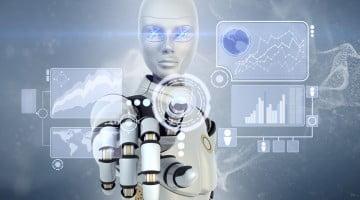 robot touching futuristic interface