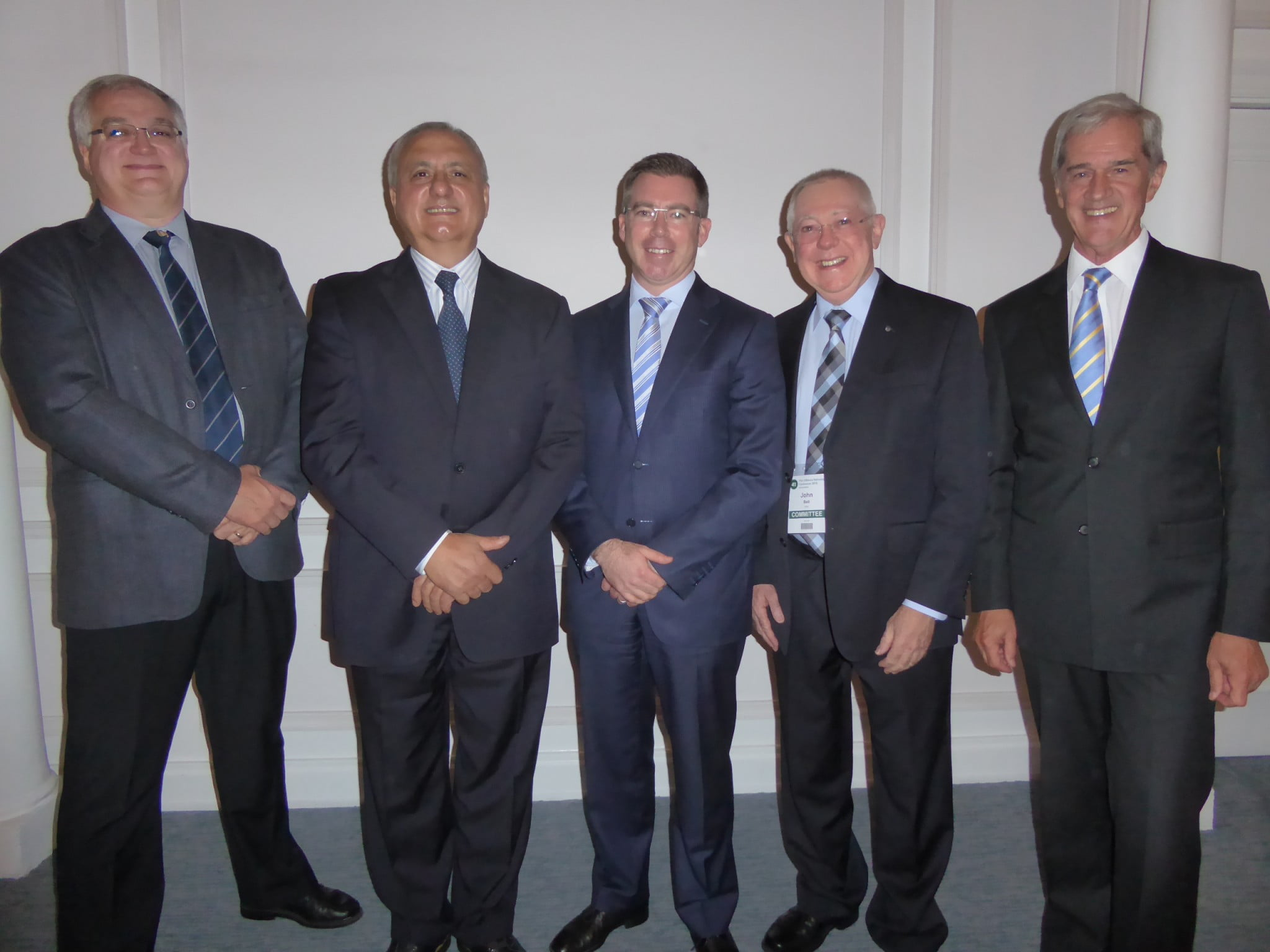 L-R: Prof Sarel Malan, president, Pharmaceutical Society of South Africa; Joe Demarte, president, Pharmaceutical Society of Australia; Ben Playle, Australian Deputy High Commissioner; John Bell, acting conference chair; and Roelf Meyer, formerly chief negotiator for the National Party Government on the settlement of the South African conflict which ended apartheid.