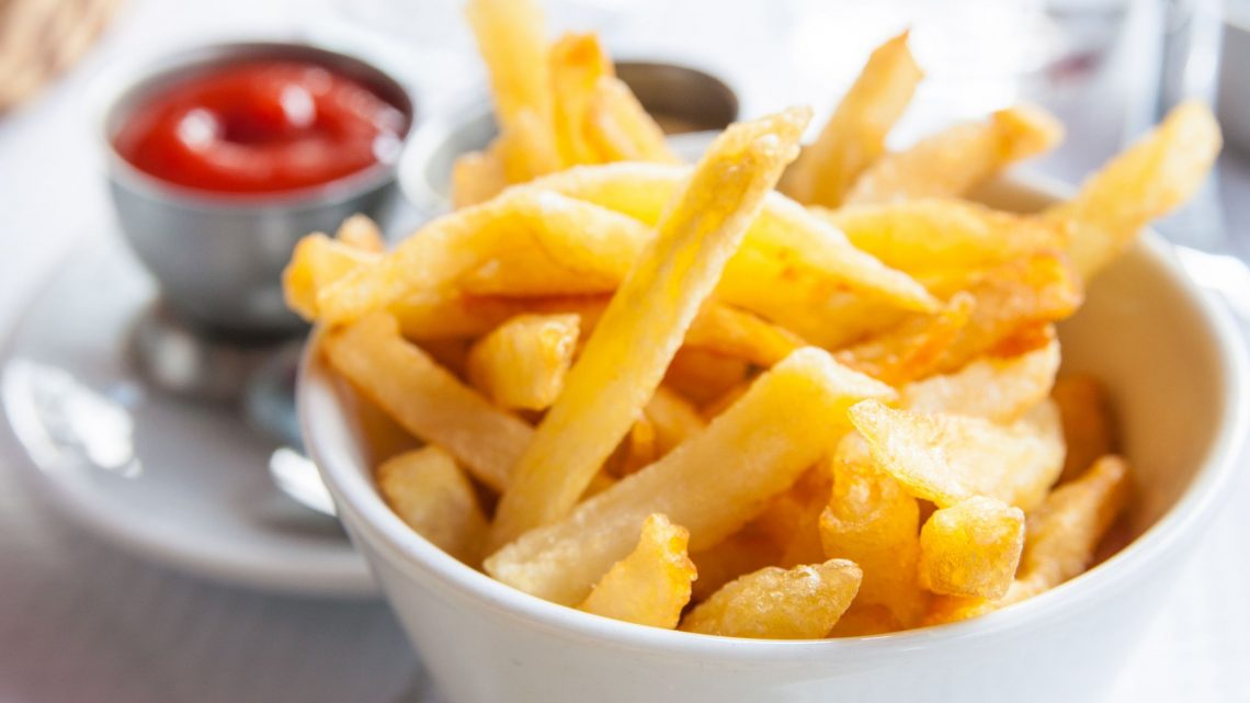 salty chips and tomato sauce