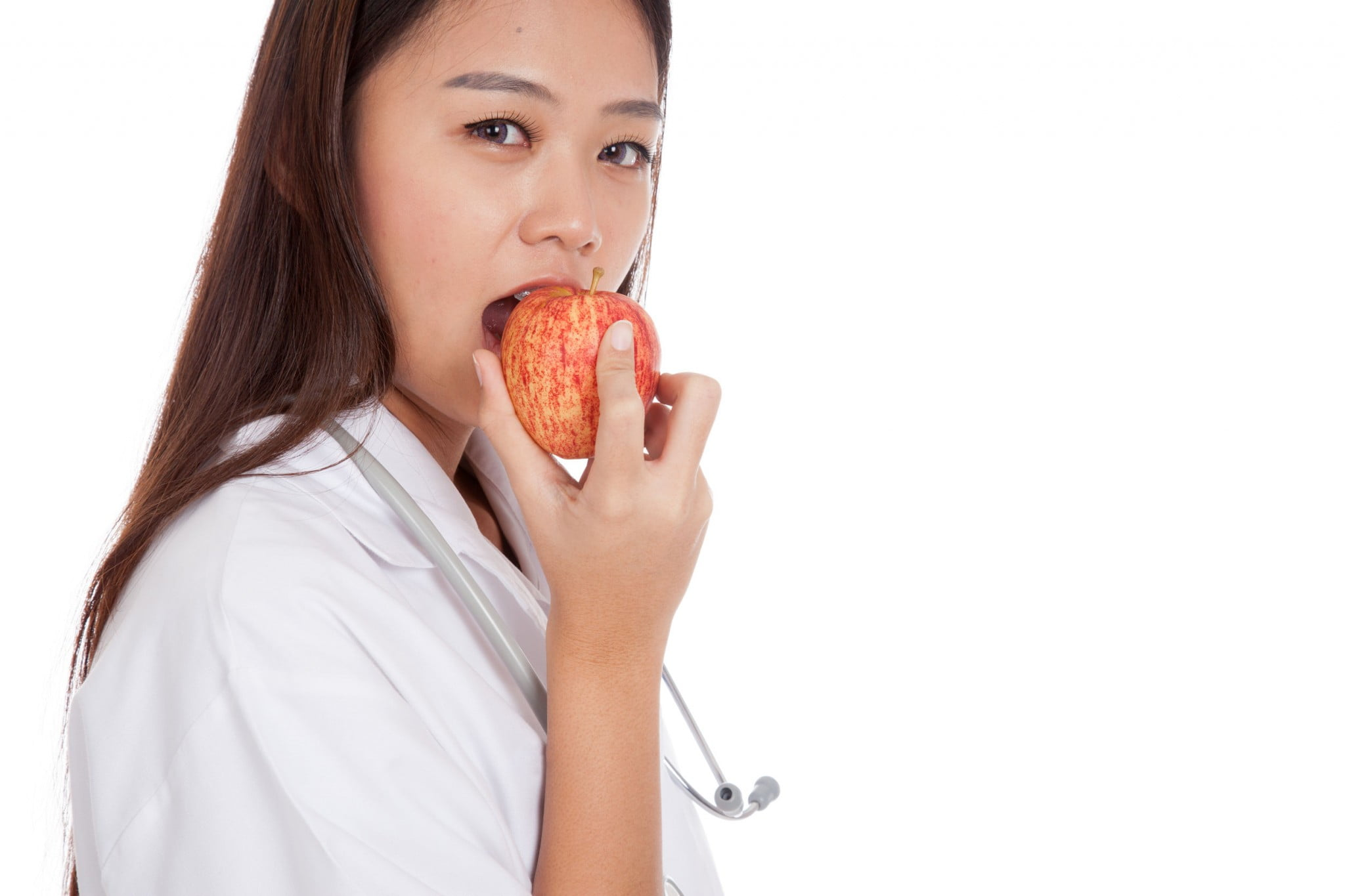 pharmacist eating apple