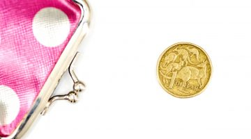 $1 coin and pink coin purse