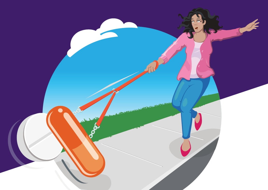 NPS 2016 MedicineWise week collateral, woman taking pills for a walk