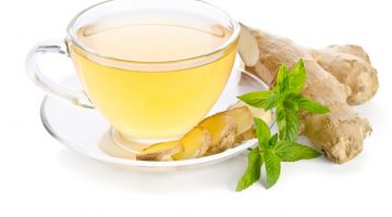 47751046 - tea with ginger root isolated on white background