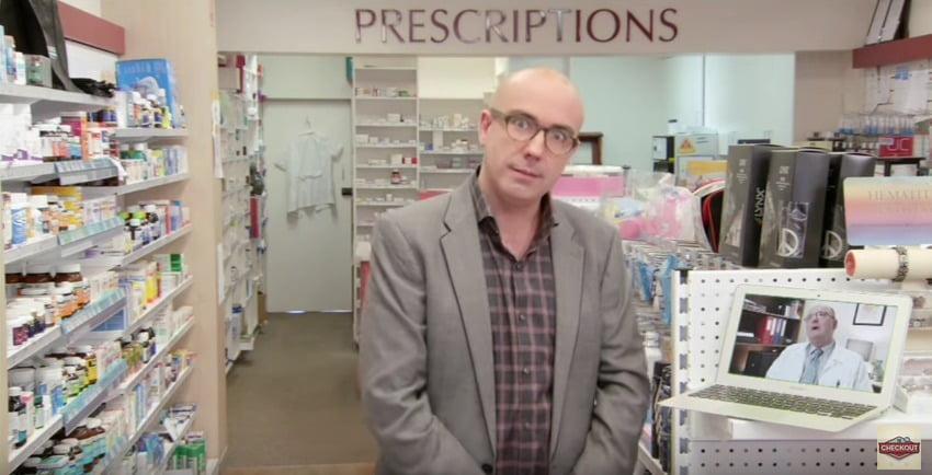 Julian Morrow interviews Ian Carr in a pharmacy