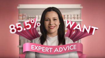 Priceline 100% women ad still of smiling woman