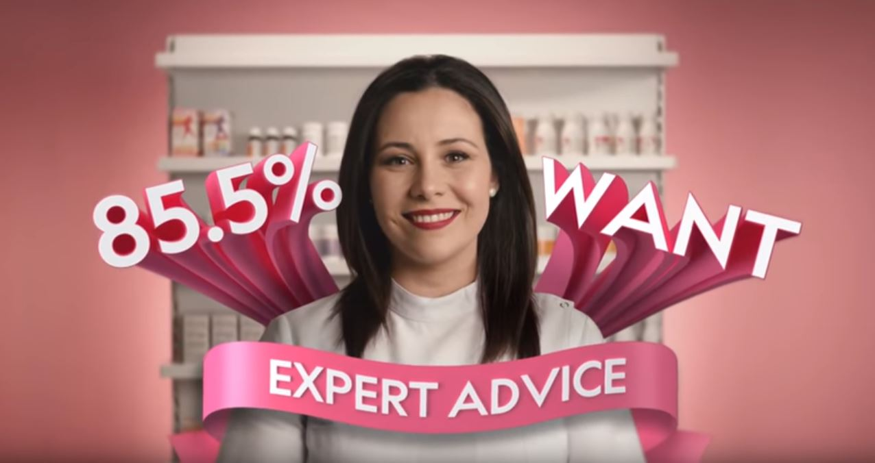 Priceline 100% women ad still of smiling woman