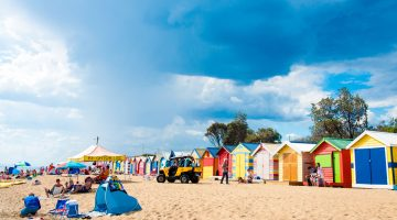 Brighton beach showing bathing boxes, Melbourne