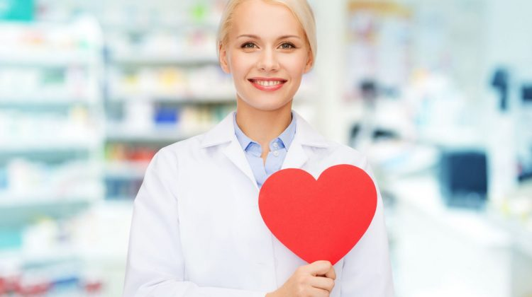 pharmacist with paper heart