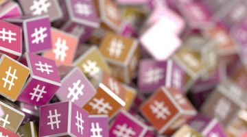 twitter hashtags on cubes social media concept