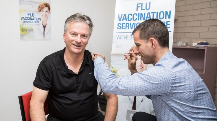 Steve Waugh being vaccinated