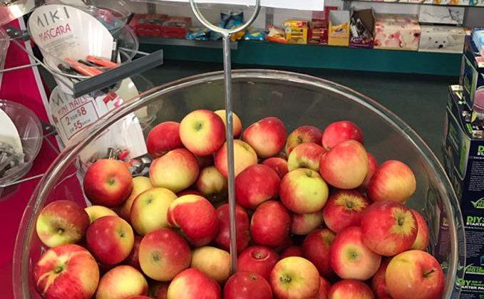 apples in a bin