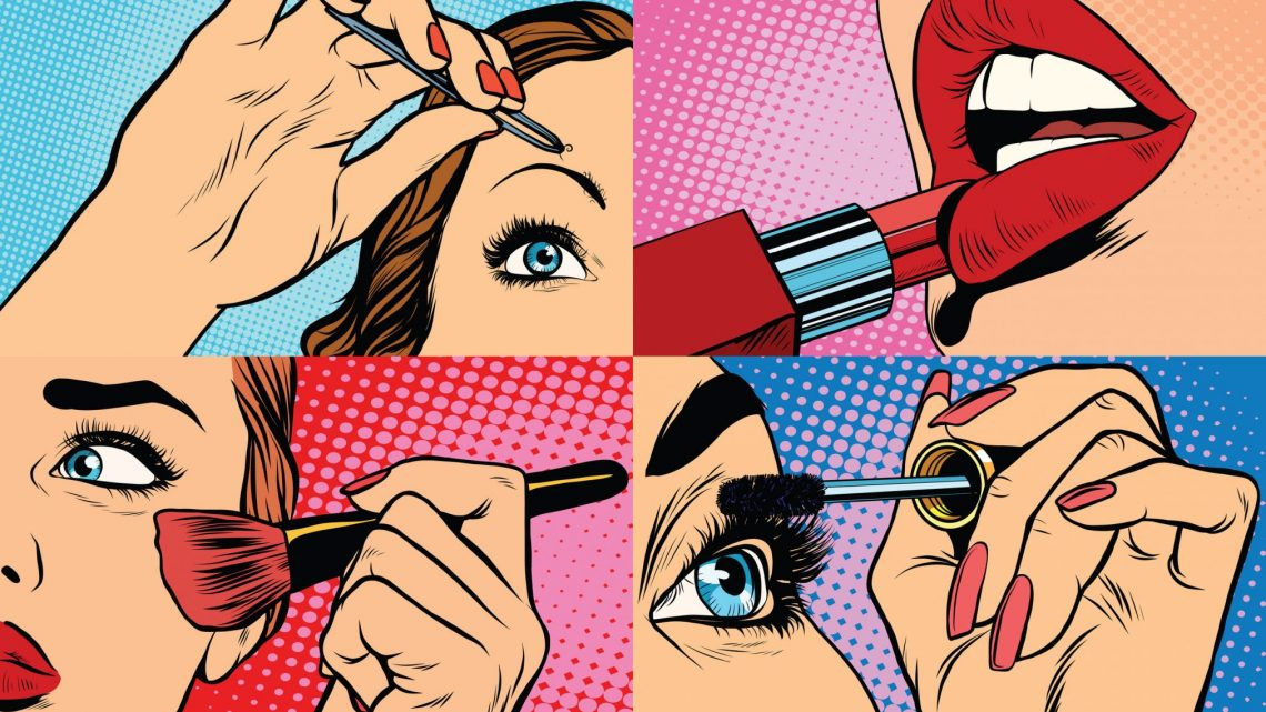 retro pop art of woman putting on makeup