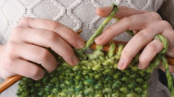 green wool knitting