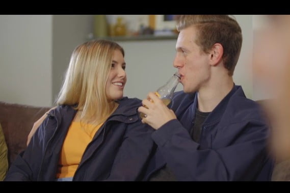 still from meningitis campaign, girl and guy talking