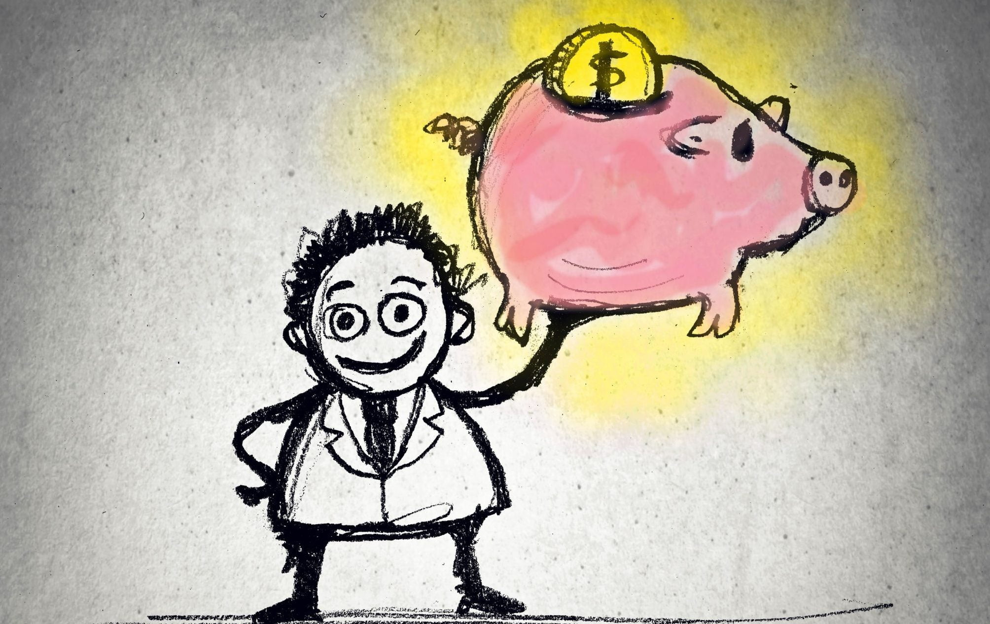 an pharmacist holding up a piggy bank employee pharmacist wages money earning funding salary salaries wage