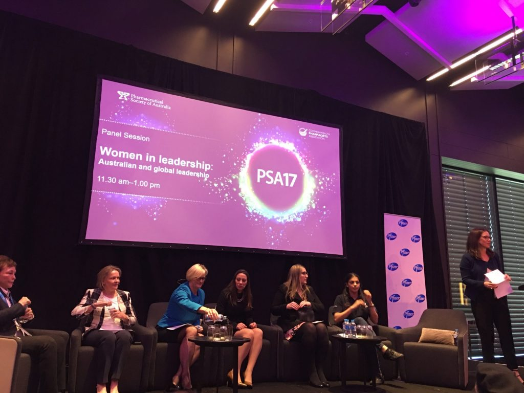 Women in leadership panel at PSA17. Rhonda White, Managing Director, White Retail Group; Debbie Rigby, Advanced Practice Pharmacist; Melissa McGregor, Managing Director for Pfizer Australia and New Zealand; Victoria Rutter, Commonwealth Pharmacists Association's Executive Director; Emma McBride, Federal Member of Parliament; Shefali Parekh, NAPSA Immediate Past President.; Alison Roberts, former PSA Executive Director - Policy, Advocacy and Innovation. Photo: AJP.