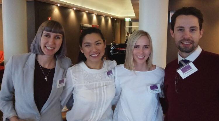 Symposium attendees (L-R): Jacinta Johnson (SA Health), Cherrie Leong (Epic pharmacy), Courtney King (Icon Cancer Care), Chris Freeman (Vice President, PSA)