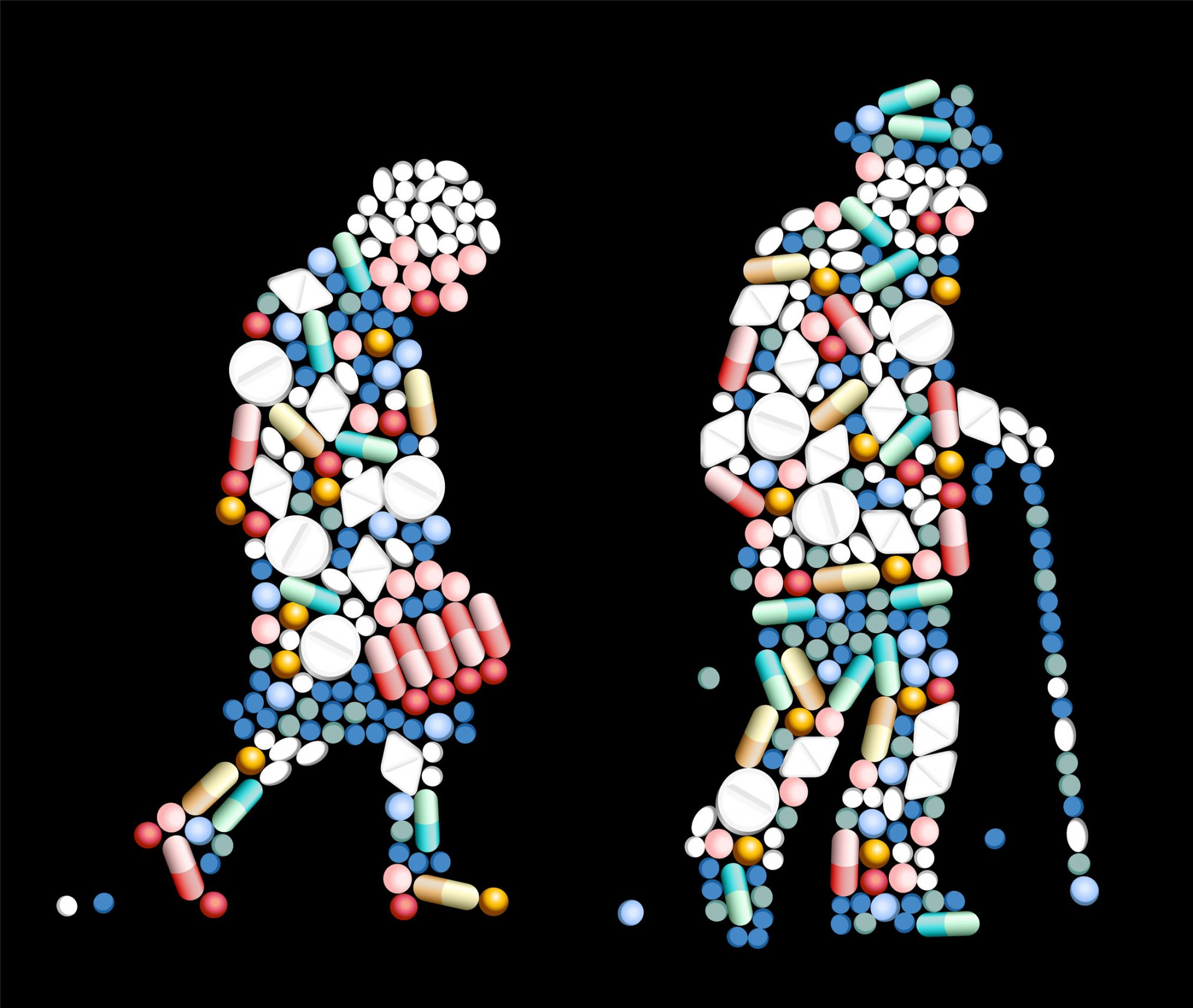 elderly couple silhouette made from pills