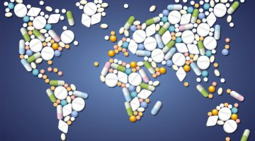 world map made of pills