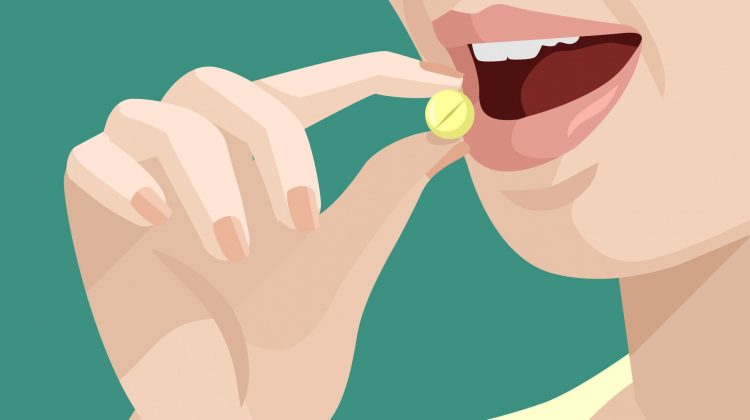 woman taking pill - vector