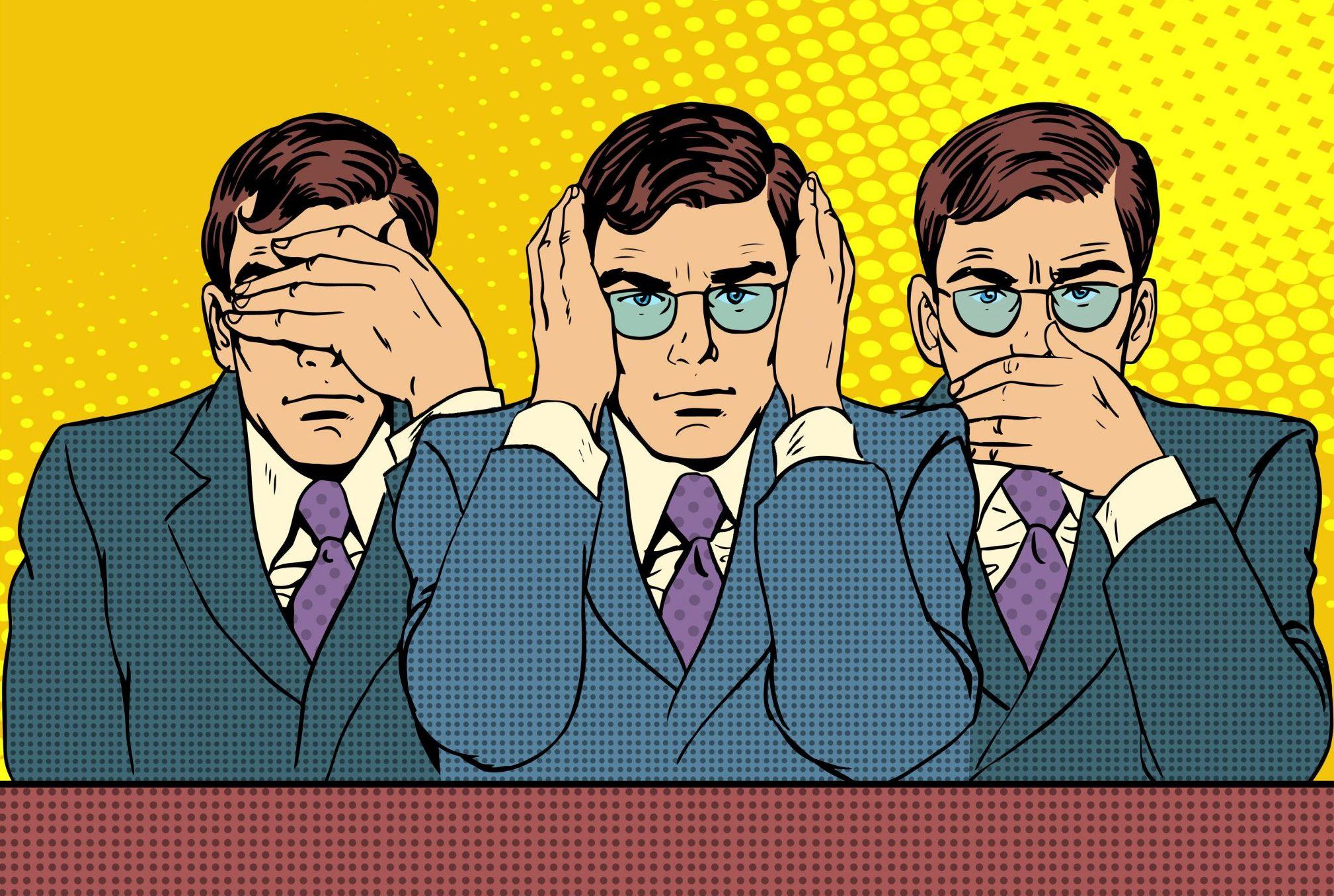 blind eye hear no evil see no evil speak no evil
