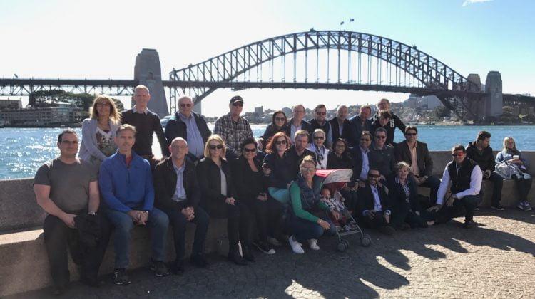 Pharmintercom leaders in front of Harbour Bridge