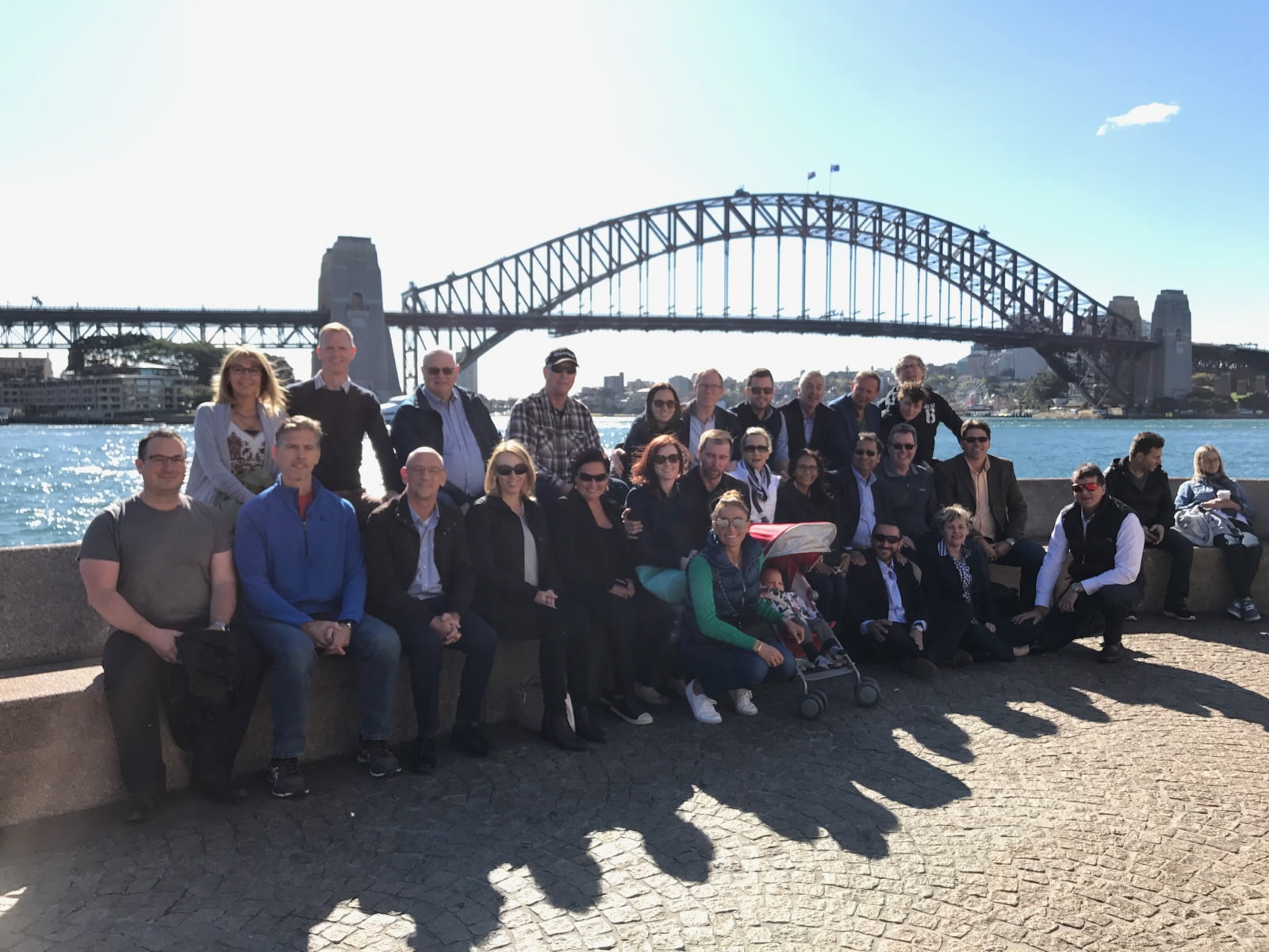 Pharmintercom leaders in front of Harbour Bridge