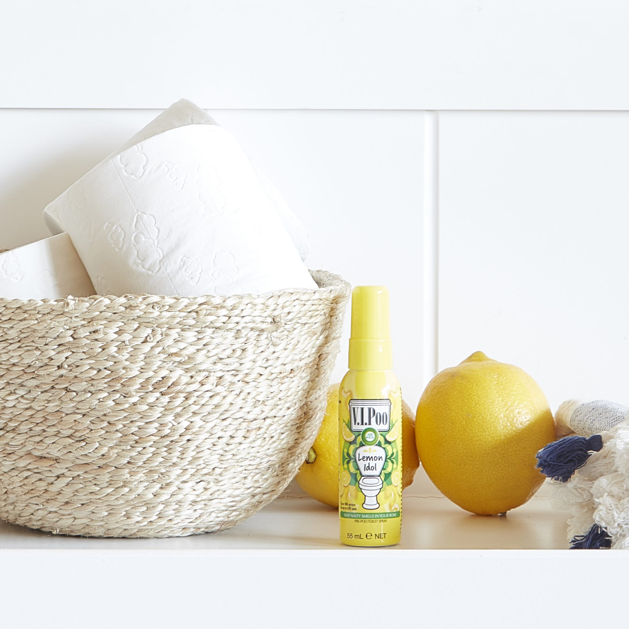 VIPoo spray and toilet roll basket