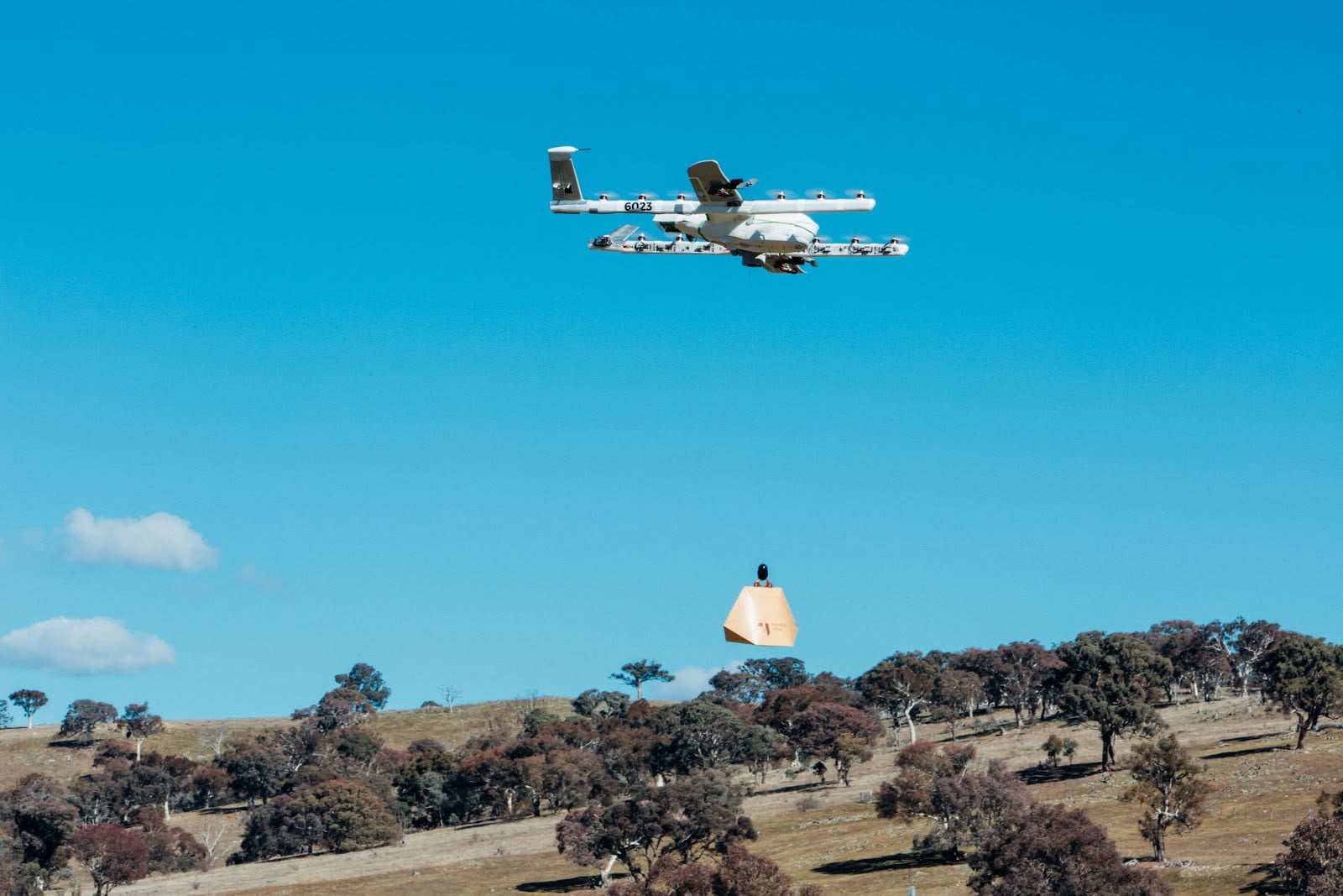 A Project Wing drone over Queanbeyan. Image: Project Wing