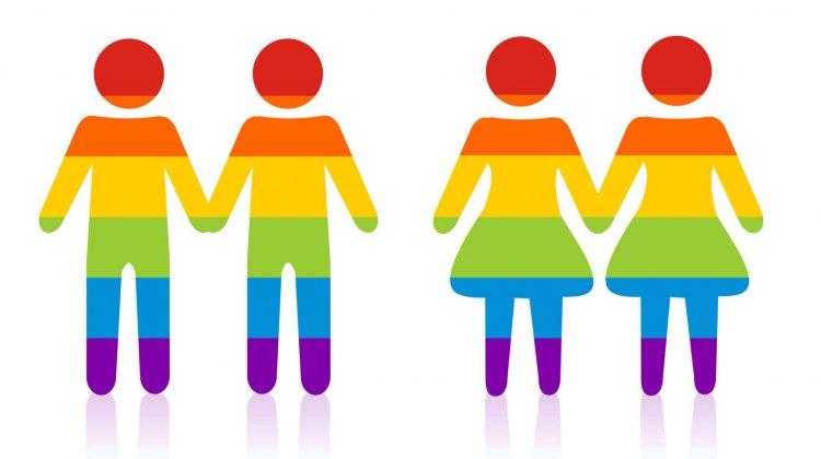 rainbow silhouettes couples holding hands