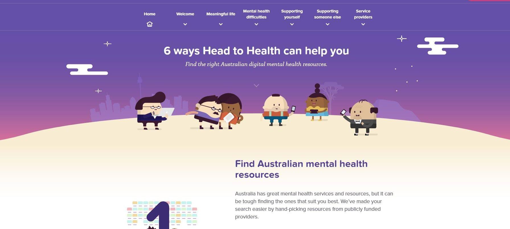 A screenshot of the Head to Health homepage
