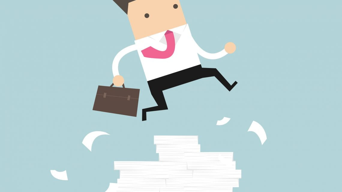 87183336 - businessman or manager jumping over obstacles. large stack of documents. vector