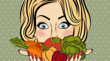 cartoon woman with salad