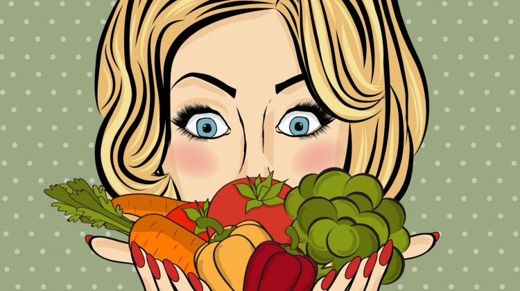 cartoon woman with salad