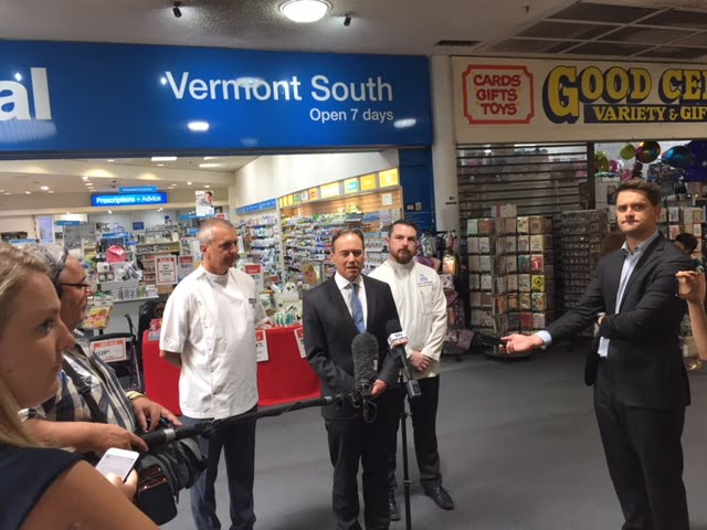 George Tambassis, Greg Hunt and Jarrod McMaugh at the Vermont South Amcal