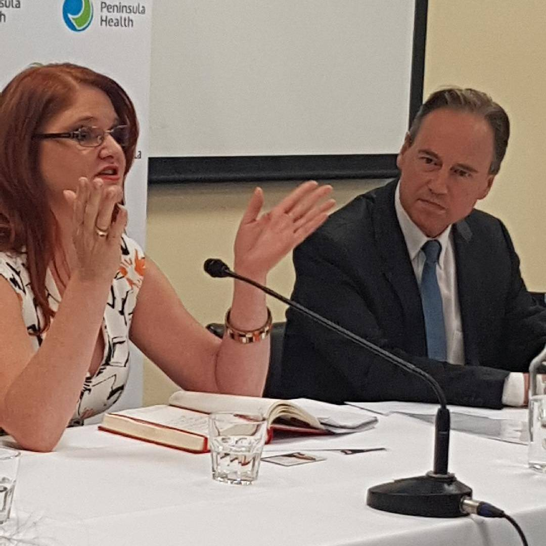 Consultant psychiatrist Dr Helen Schultz with Greg Hunt at the event. Image: Helen Schultz via Twitter.