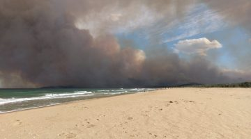 Smoke pall over beach